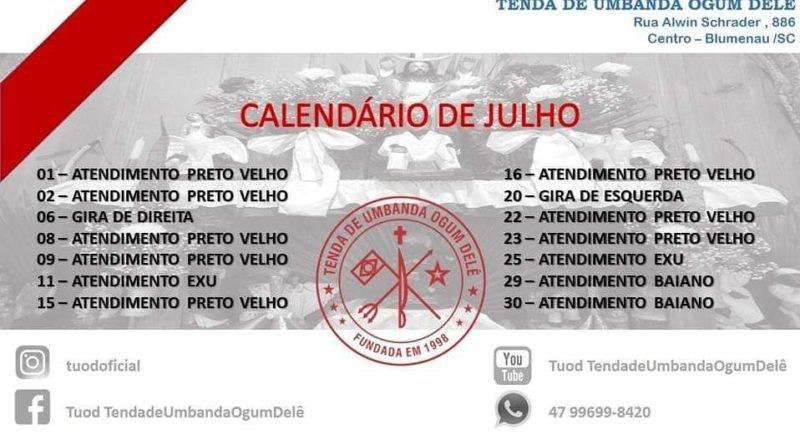 Calendário Julho