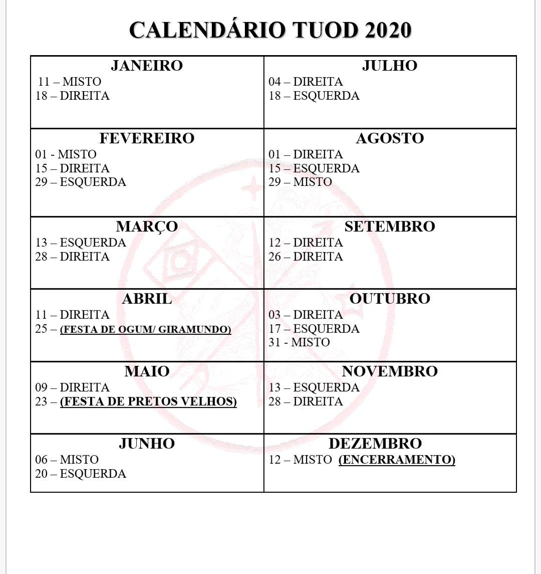 Calendário Tuod 2020